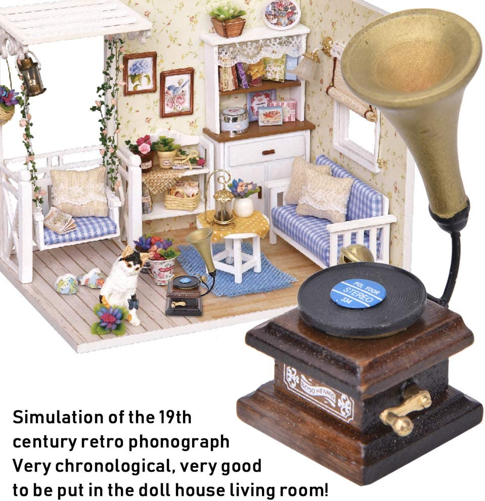 Miniature Dolls House Accessory Music Room Gramophone