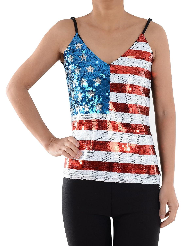 659952233e4452 Anna-Kaci Womens Patriotic USA Flag American Sequin V Neck Cami Tank ...
