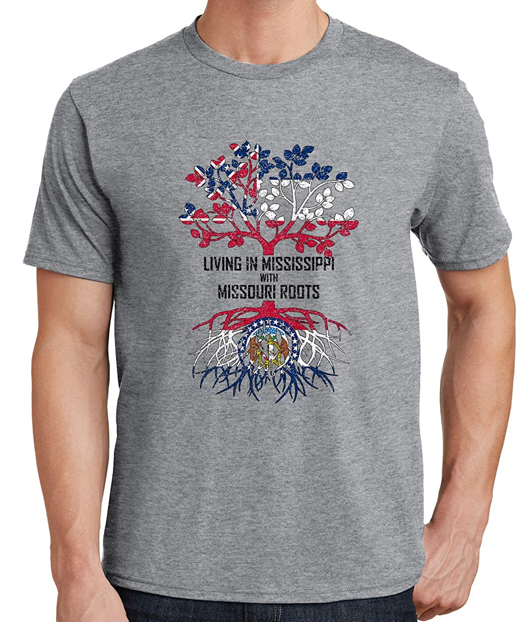 Tenacitee Mens Living in Mississippi with Missouri Roots T-Shirt