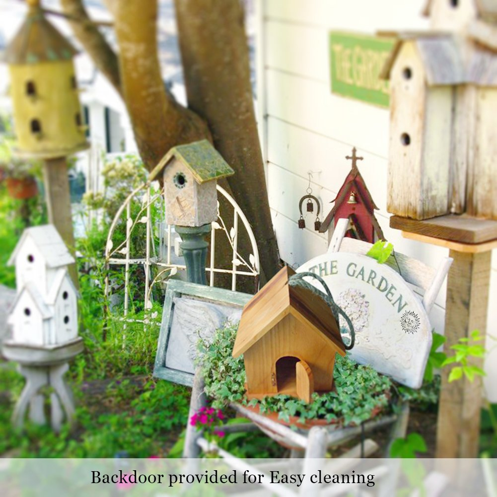 SunGrow Wooden Birdhouse: Fun DIY project for Kids: Double entrance for Easy cleaning: Small perch for birds to sit on: Easy to hang