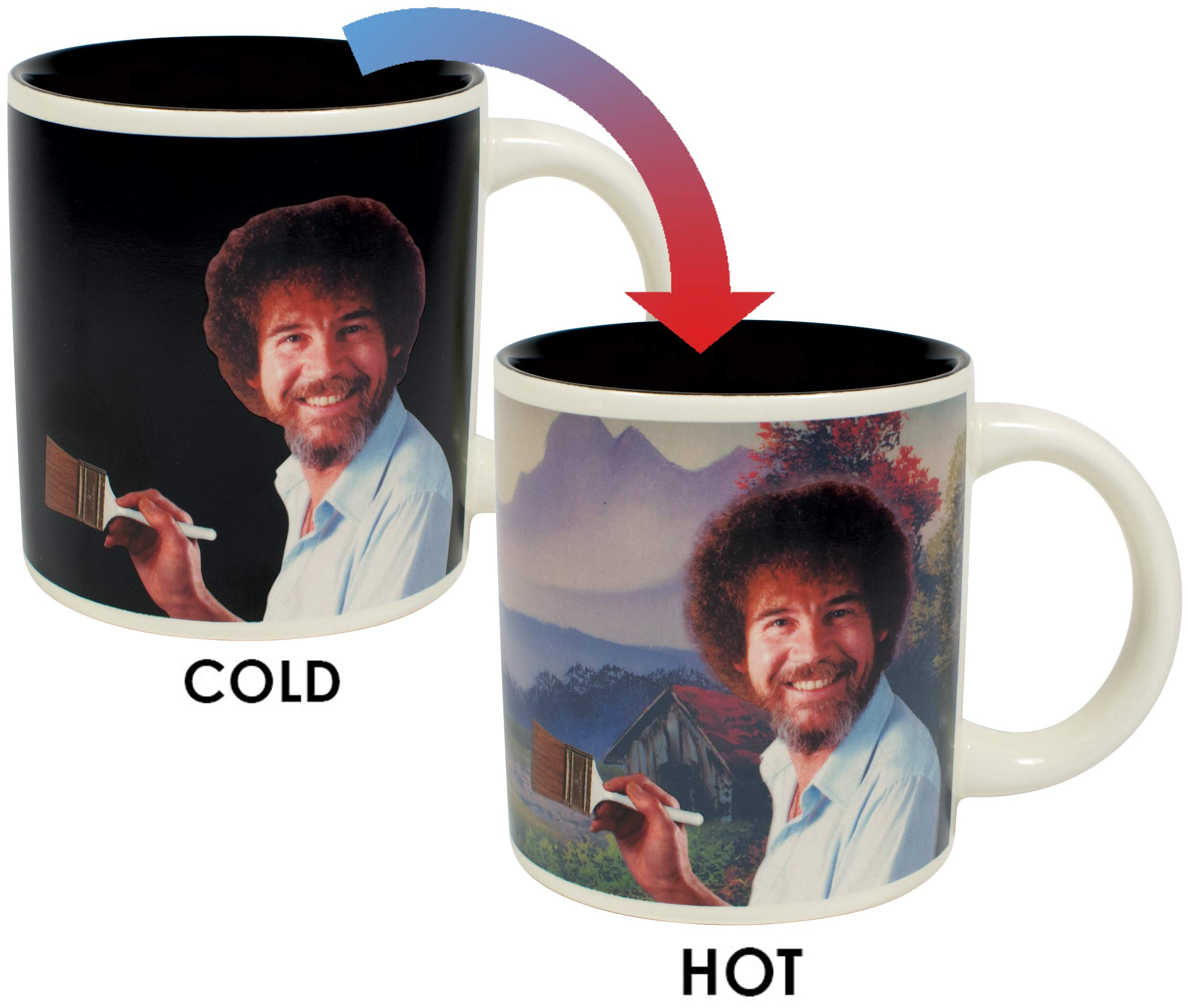 Bob Ross Heat Changing Mug - Add Coffee or Tea and a Happy Little Scene Appears - Comes in a Fun Gift Box by The Unemployed Philosophers Guild