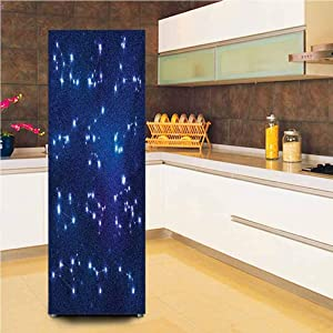 Ira FRANKLIN backgrounds 3D Door Fridge Stickers Wall Mural,Realistic Celestial Gemini Leo Pisces Sagittarius Galactic Vinyl Wall Decal Hallway Mural,24x70,for Home Decor,Dark Blue Pale Blue Purple