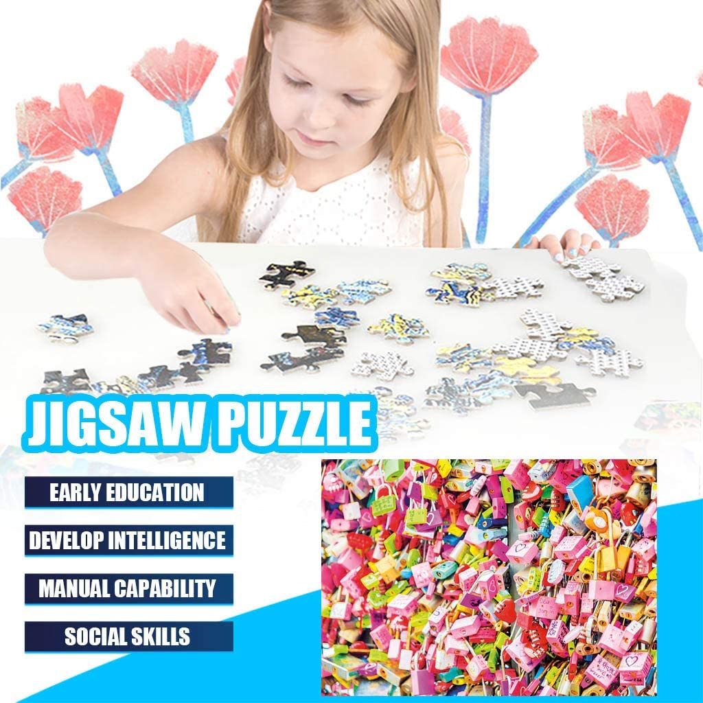 Klions 1000 Piece Adult Puzzles Large Jigsaw Puzzles Game Toy Romantic Couple Lock Micro Picture Interlocking Assembly Paper Piece Board Photo Decoration Stress Relief Gift for Adult Teen Child