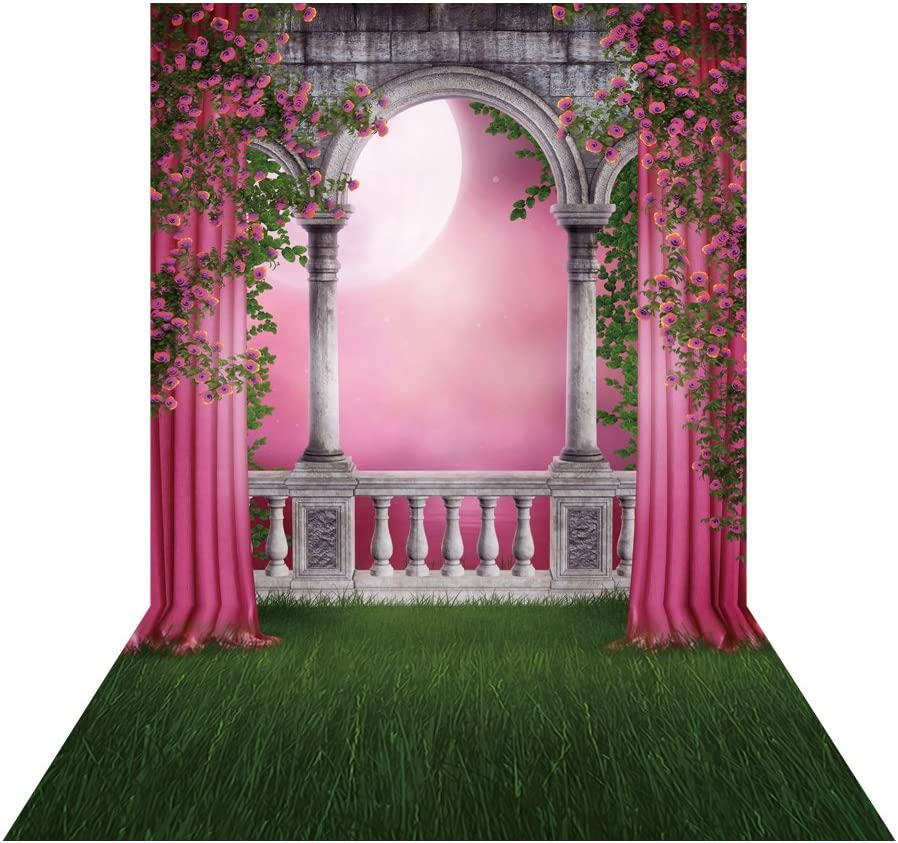 Muzi Photography Backdrops for Classical Corridor Pink Curtain Flowers and Moon Green Grass Floor Background Party Wedding Photo Studio Prop 5x8ft D-9776