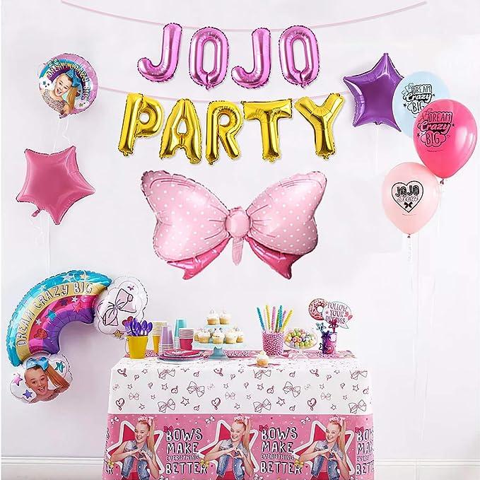 Jojo Party Balloons Banner Jojo Siwa Theme Girls Birthday Party Decorations Pink Bow Balloon Sweet 16 Birthday Party Supplies