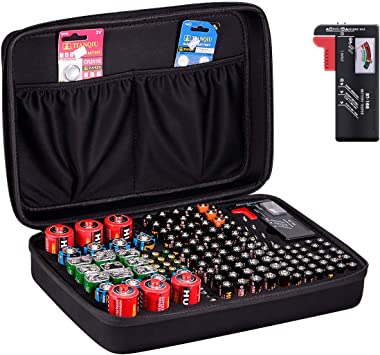 Batteries AA AAA C D 9V Black Geecow Battery Storage Organizer Case with Battery Tester Fireproof Waterproof Safe Carrying Case Bag Holds 140 Batteries are Not Included