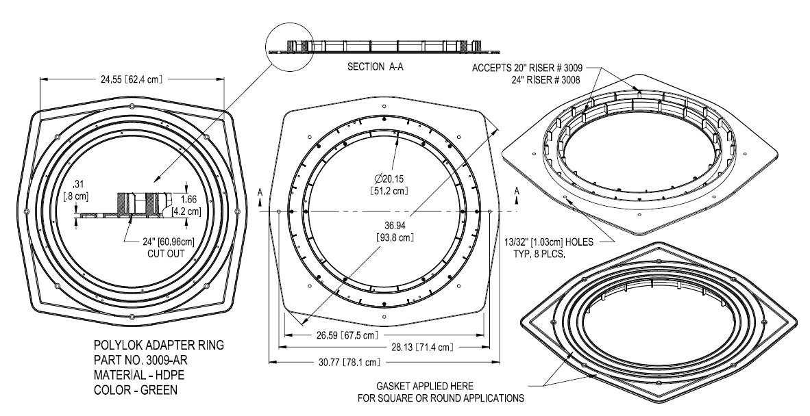 Polylok 3009-AR 20 or 24 Septic Tank Riser Adapter Ring by Polylok by Polylok (Image #1)