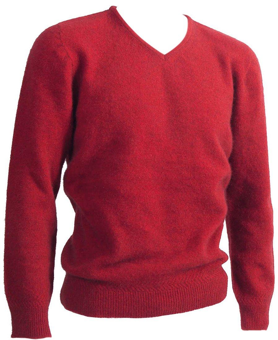 New Zealand Wool/Brushtail Possum Blend Rack Stitch V-Neck Jersey Men's Medium Red