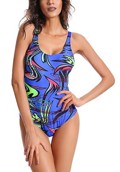 FEOYA - Bañador de Una Pieza para Mujer con Tirantes Ajustables Traje de Baño con Relleno Ropa de Natación para Verano - ES 42-46