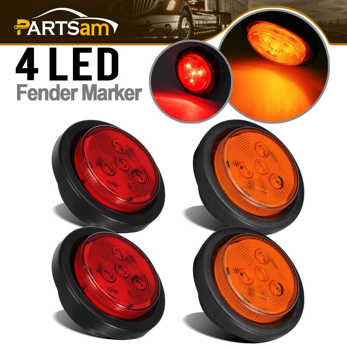 Partsam 2 Amber + 2 Red LED 2.5'in. Round Clearance/Side Marker Light Kit with Light Grommet & Wire Pigtail Truck Trailer RV