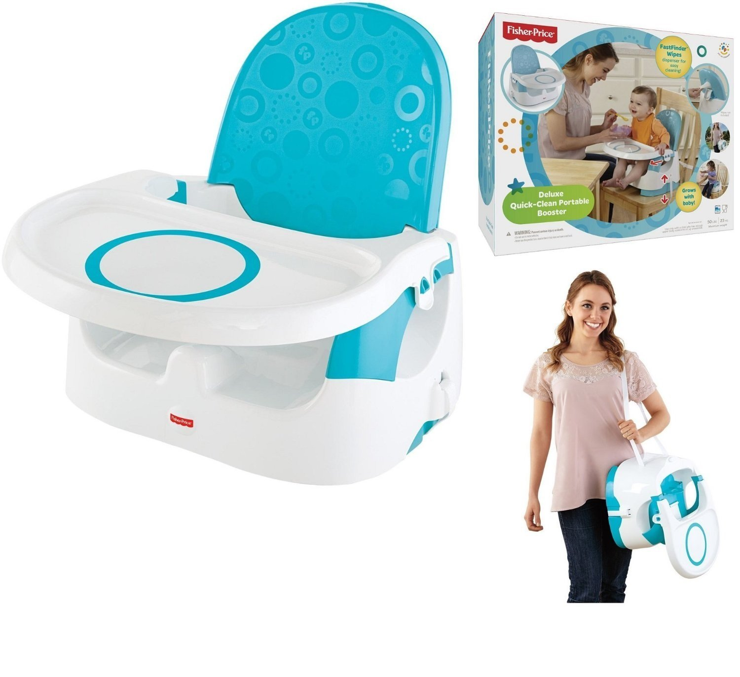 Fisher Price® Deluxe Quick-Clean Portable Booster Seat for Child Kid Baby Infant Toddler with Fastfinder™ Wipes Dispenser and Super Grip Spot Fisher Price®