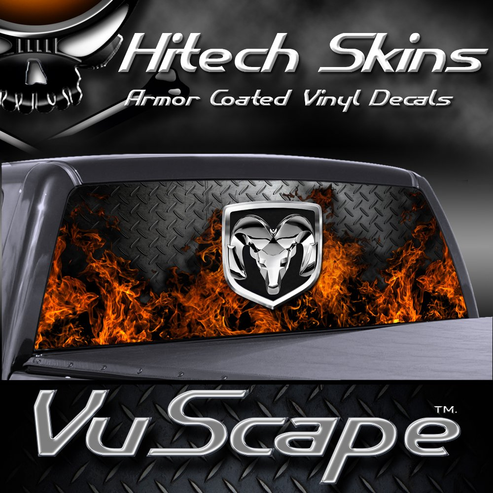 Amazoncom VuScapes DODGE RAM FIRE DPLATE Rear Window Truck - Rear window hunting decals for trucksamazoncom truck suv whitetail deer hunting rear window graphic