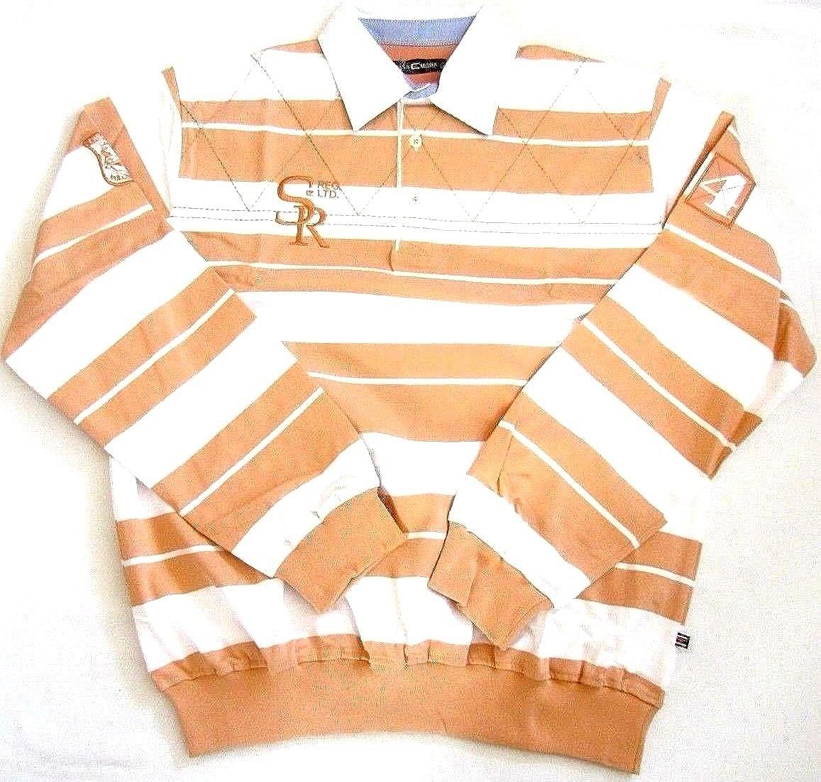 CASA MODA Herren Poloshirt longsleeve langarm Shirt mit Knopfleiste Orange M,L