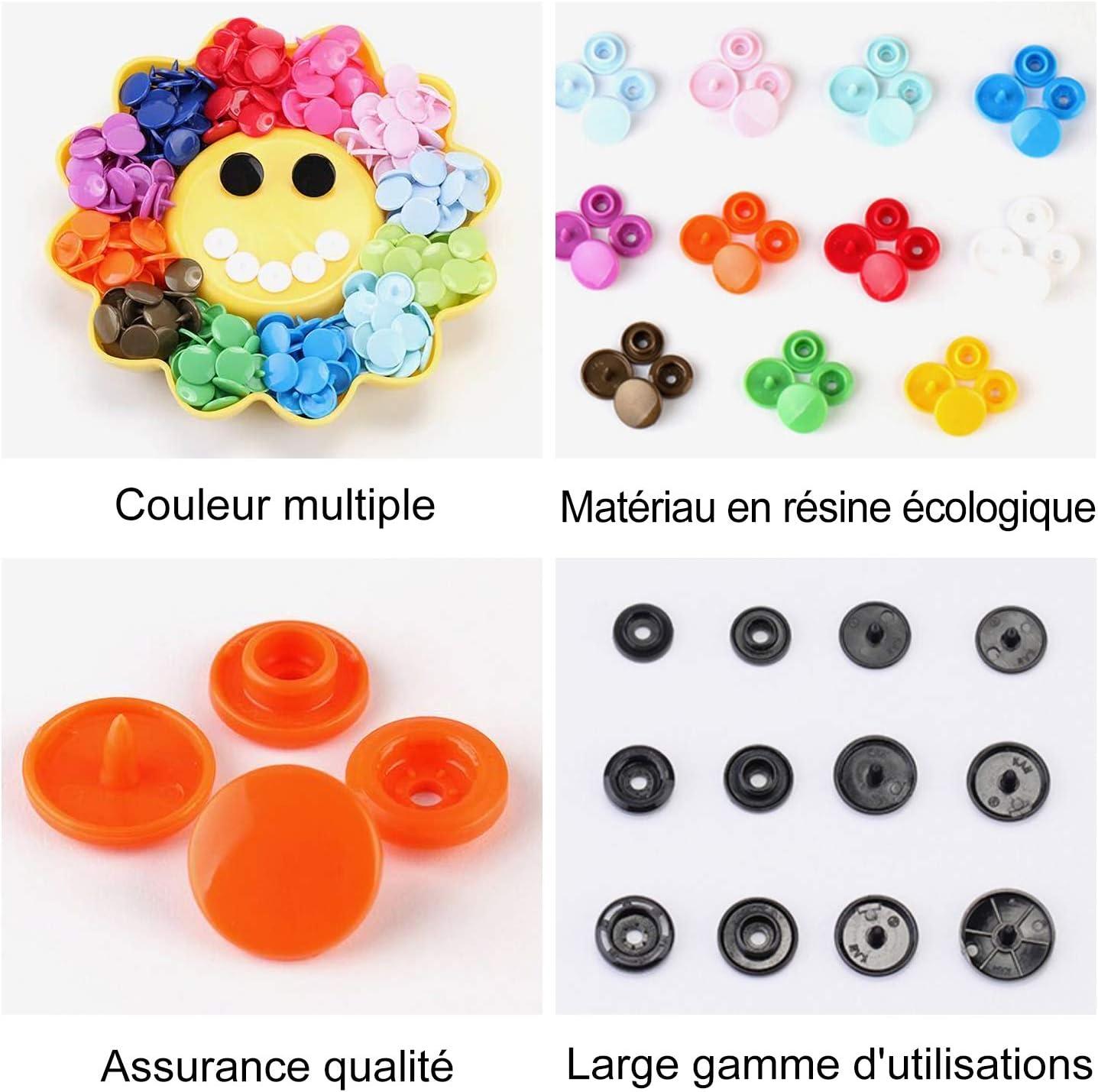 DODUOS 24 Couleurs Bouton Pression en r/ésine 360 Boutons Pression Pinces en Plastique Boutons pour Bricolage Artisanat Accessoires v/êtements pour Enfants