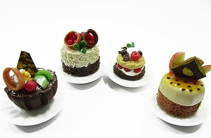 Dolls House Miniatures Food 1:12 Mini Luxury Cake Dessert Ceramic 4 Plates 13935