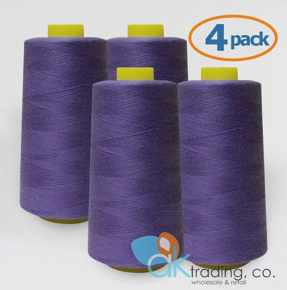AK-Trading 4-Pack PURPLE Serger Cone Thread (6000 yards each) of Polyester thread for Sewing, Quilting, Serger #635 AK TRADING CO.
