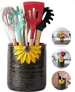 Utensil Crock, Kitchen Utensil Holder, Ceramic Farmhouse Utensil Holder for Countertop, Cooking Utensil Holder for Kitchen Decor Large Kitchen Spatula Holder