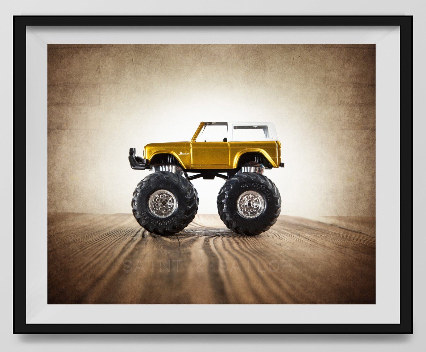 Vintage Monster Truck Photo ''Yellow Ford Bronco'', Boys room Wall art, Photo Decor, Monster truck room, Nursery decor, Kids Room Wall Art.