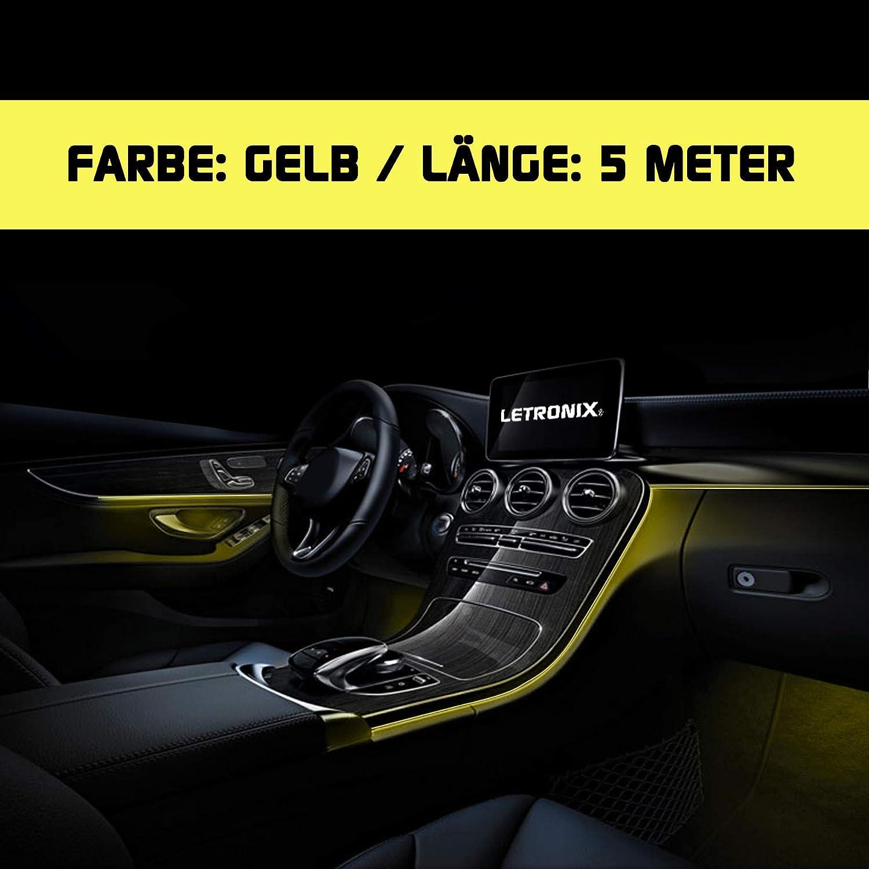 Gr/ün - 3 Meter LETRONIX EL Wire Lichtleiste Ambientebeleuchtung Auto 12V Gr/ün 3 Meter 4,66/€//M