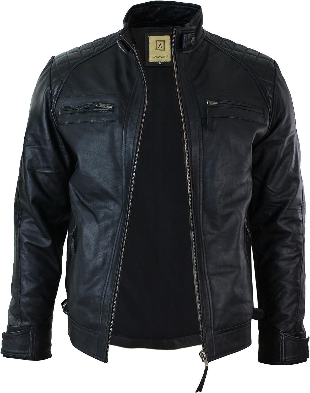 Aviatrix Mens Retro Style Zipped Biker Jacket Real Leather Soft Black Casual Black s