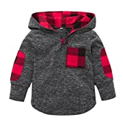 Sunbona Toddler Baby Boys Plaid Hoodie Pocket Pullover Sweatshirt Long Sleeve T Shirt Blouse Outfits Clothes Set (Gray, 12M(6~12months))