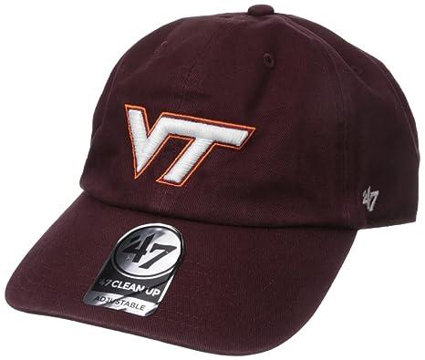 the latest 9f089 cb6c5 Amazon.com   NCAA Virginia Tech Hokies  47 Brand Clean Up Adjustable Hat,  Dark Maroon, One Size   Sports   Outdoors