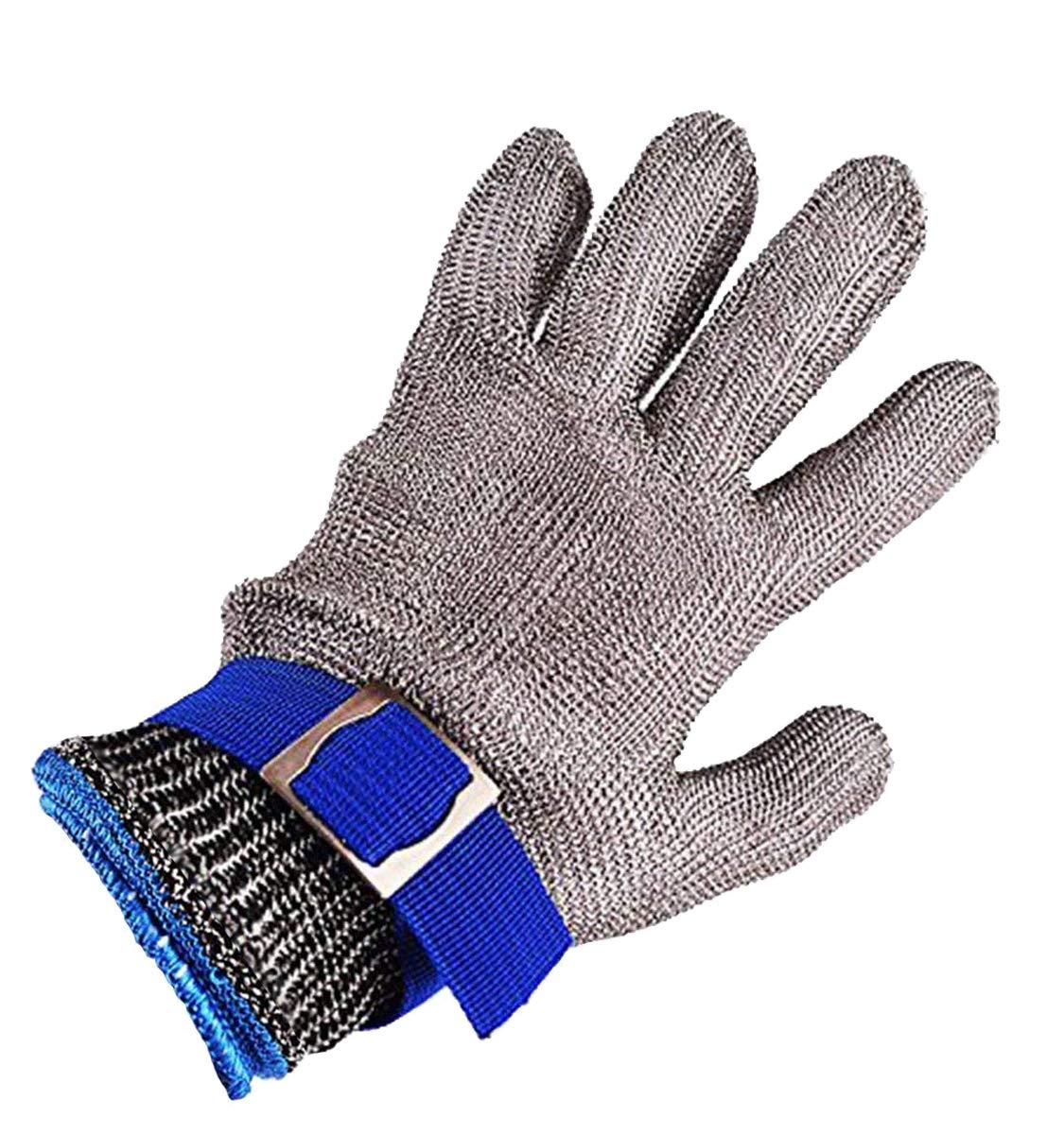 Safety Cut Proof Stab Resistant Imported 316 Stainless Steel Metal Mesh Butcher Glove Size L High Performance Level 5 Protection
