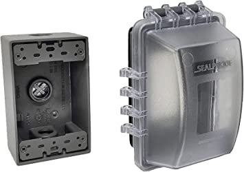 Sealproof 1 Gang Weatherproof Exterior In Use Outlet Cover And Box Kit Single Gang Metallic Electrical
