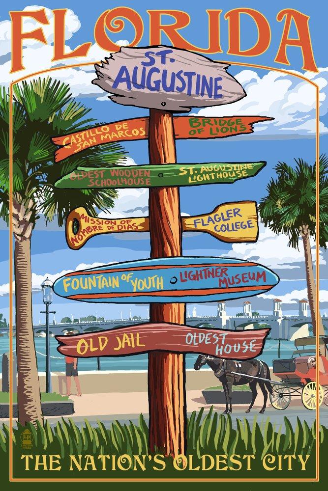 聖アウグスティヌス、フロリダ州 – Sign Destinations 12 x 18 Art Print LANT-43558-12x18 12 x 18 Art Print  B00N5CSN7W