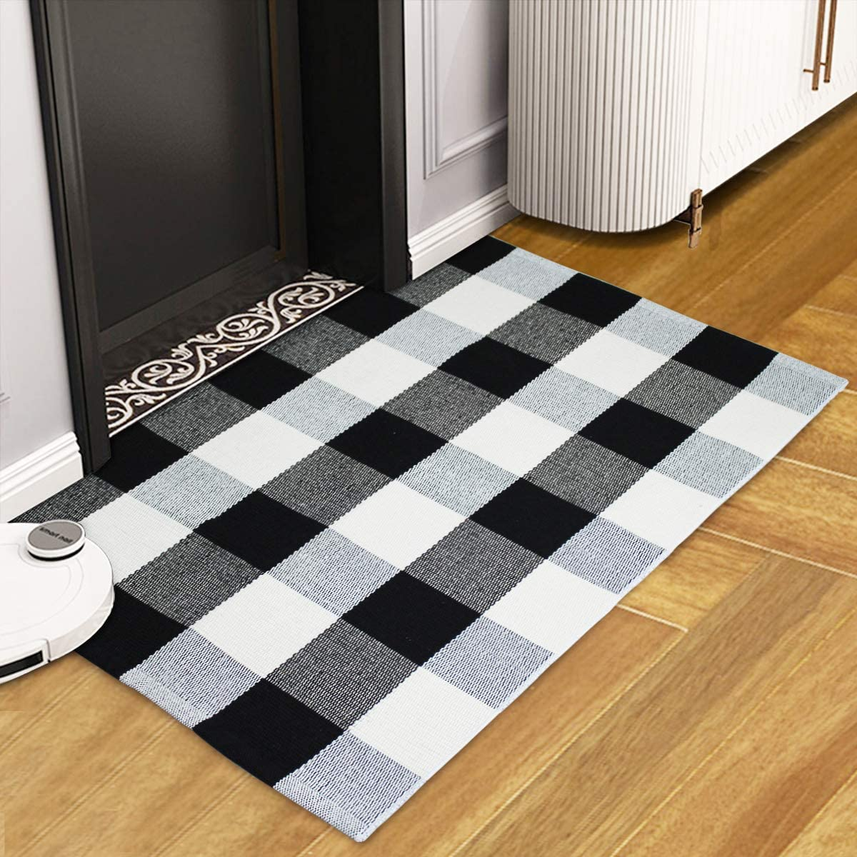 UVOGOM Cotton Buffalo Plaid Rug Front Door Mat Outdoor Welcome Indoor Doormat Entryway Checkered Mats for Porch Bathroom Bedroom Farmhouse Kitchen Laundry Room Decor
