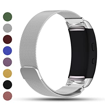 Correa de repuesto iFeeker con cierre magnético, malla milanesa de acero inoxidable para reloj inteligente Samsung Gear Fit2/Gear Fit 2 Pro, color plata: ...