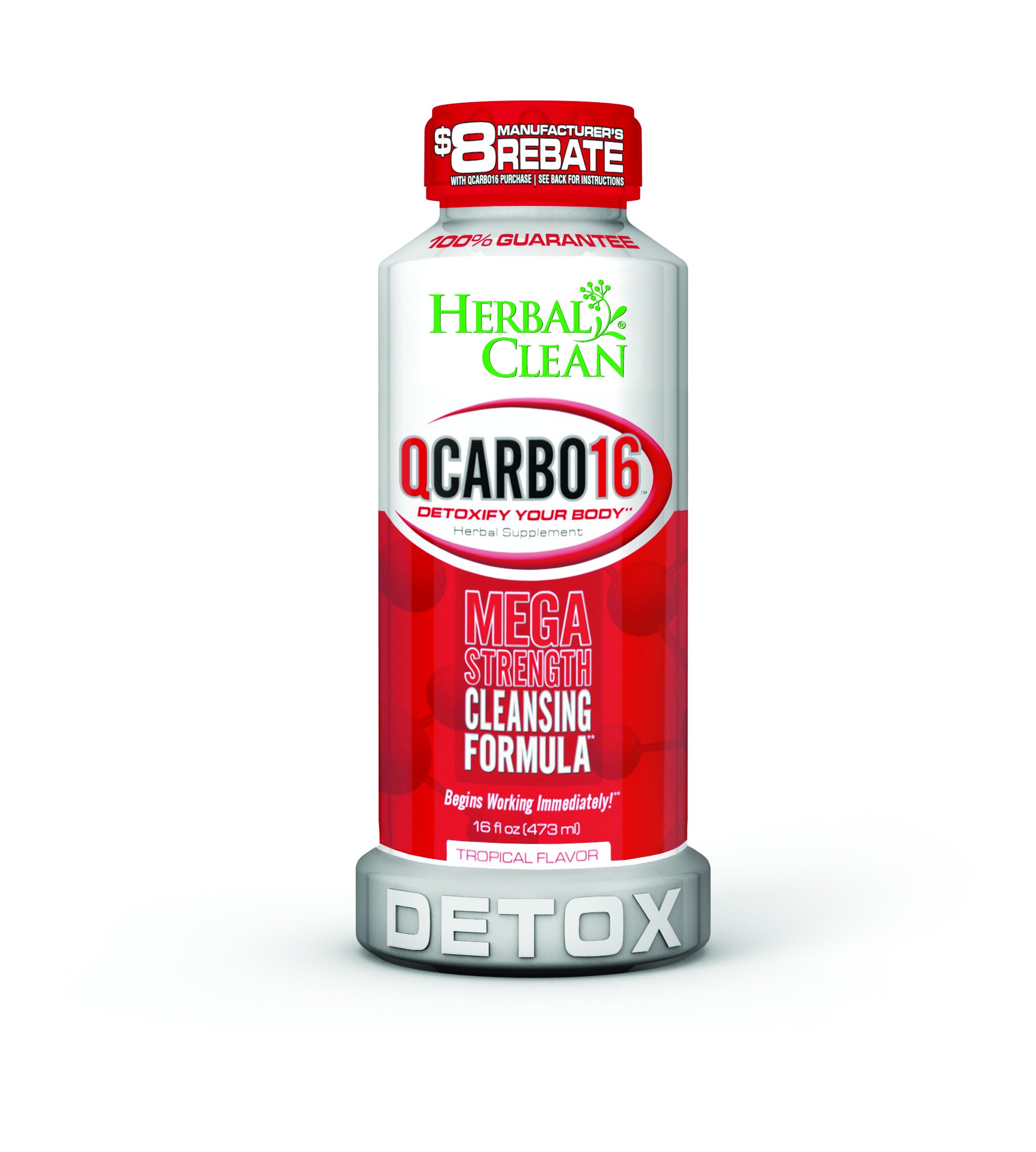 Herbal Clean QCarbo16 Tropical, 16 Fluid Ounce Mega Strength Cleansing Formula