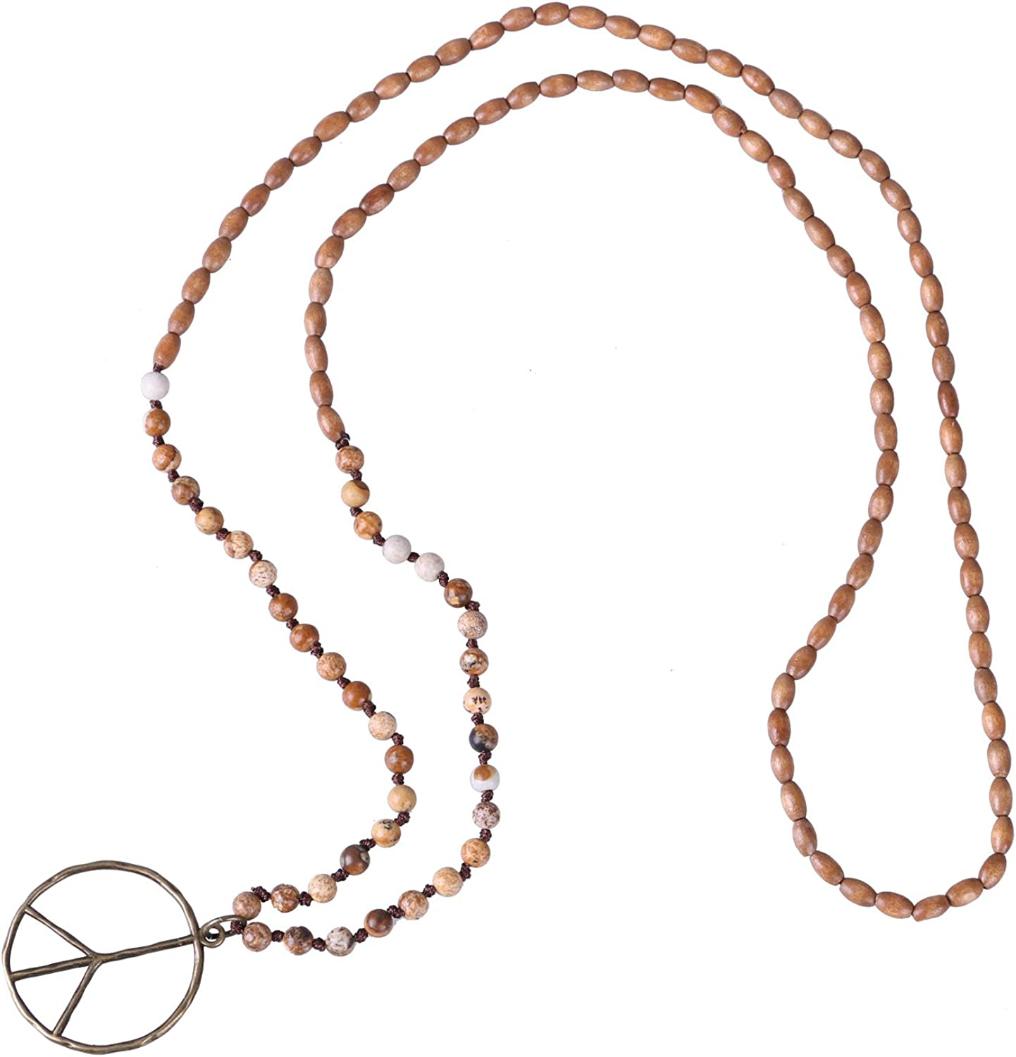 60s , 70s Hippie Clothes for Men KELITCH Peace Sign Necklace for Women Hand Knotted Crystal Beaded Pendant Necklace  AT vintagedancer.com