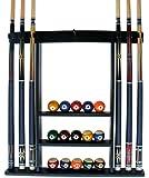 6 Pool Cue - Billiard Stick Wall Rack Made of Wood Choose Mahogany, Black or Oak