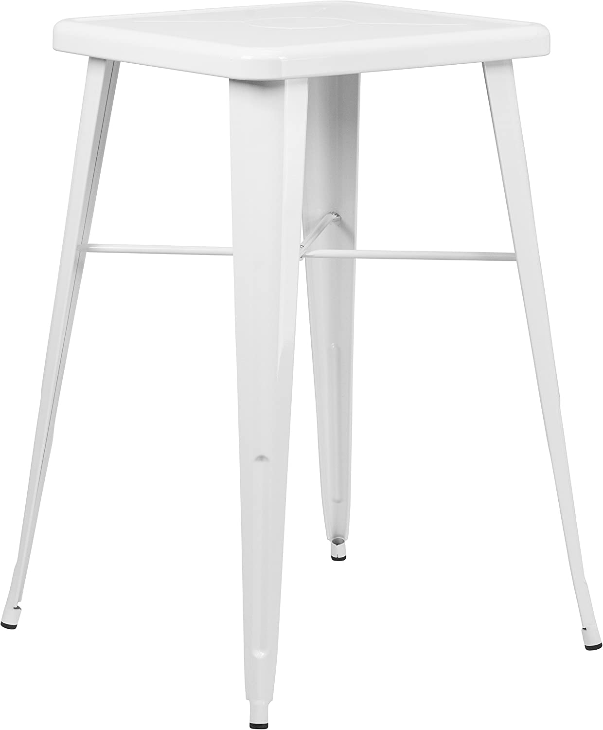 """Flash Furniture Commercial Grade 23.75"""" Square White Metal Indoor-Outdoor Bar Height Table"""
