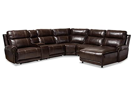 Amazon.com: Baxton Studio 150-9117-AMZ Sectional Sofas Brown ...