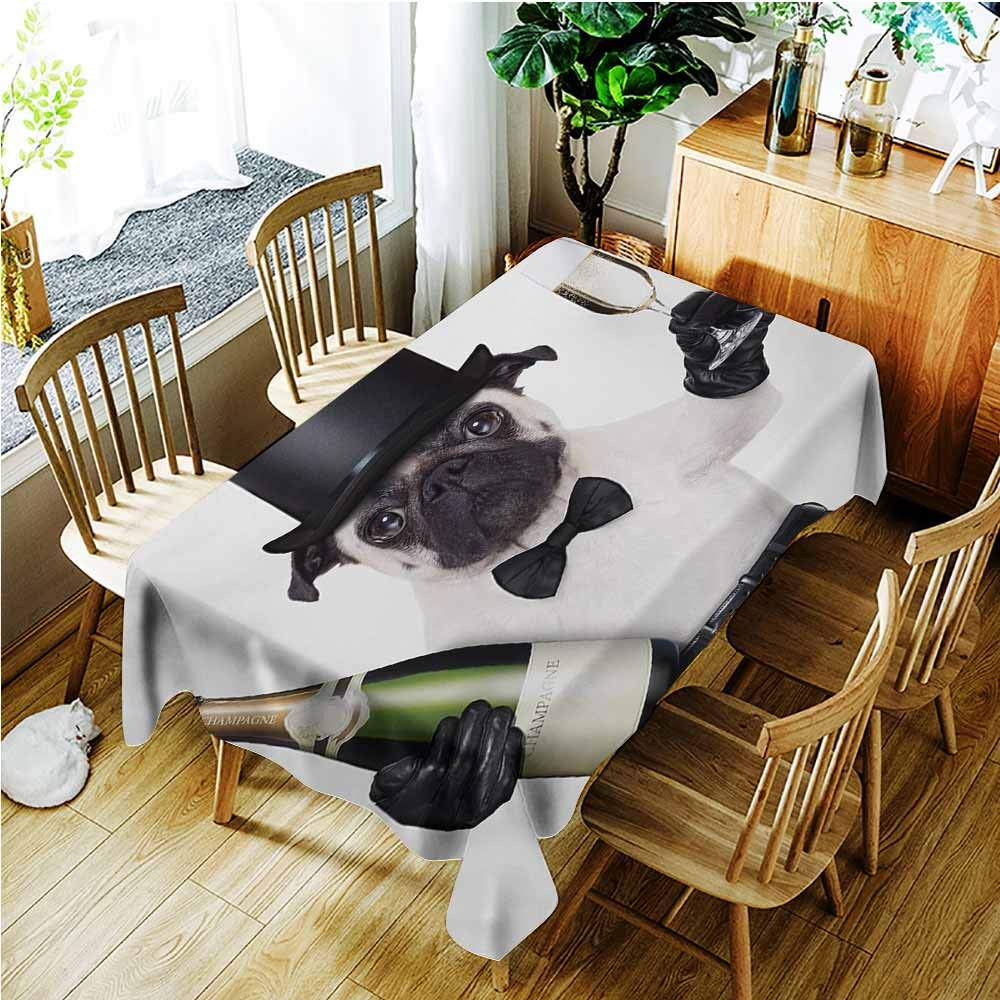 AndyTours Spill-Proof Table Cover,Pug Celebration Dog with Champagne Bottle While Toasting Happy Moments Photographs,High-end Durable Creative Home,W52x70L,Black White Emerald