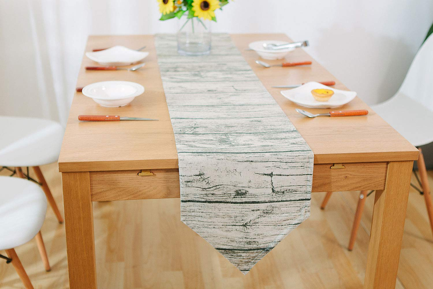 IBWell Vintage Modern Table Runner Dresser Scarf Table Cloth Cover for Wedding Party Dinner Decoration, 100% Natural Material, Cotton and Linen, Wood Grain Design