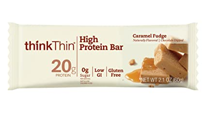 thinkThin High Protein Bars, Caramel Fudge, 2.1 Ounce (pack of 10)