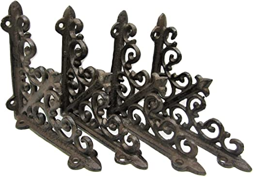 "Set of 4 Cast Iron Shelf Brackets New Antique-Style White 4.5/"" x 6.5/"""