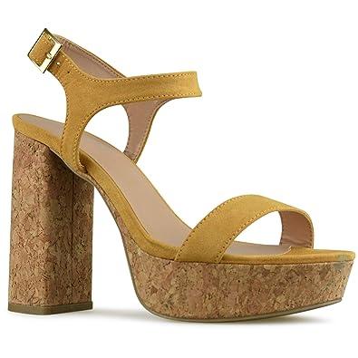 fd6730112fb96f Premier Standard - Women s Ankle Strap High Heel - Open Toe Sandal Pump -  Chunky Cork