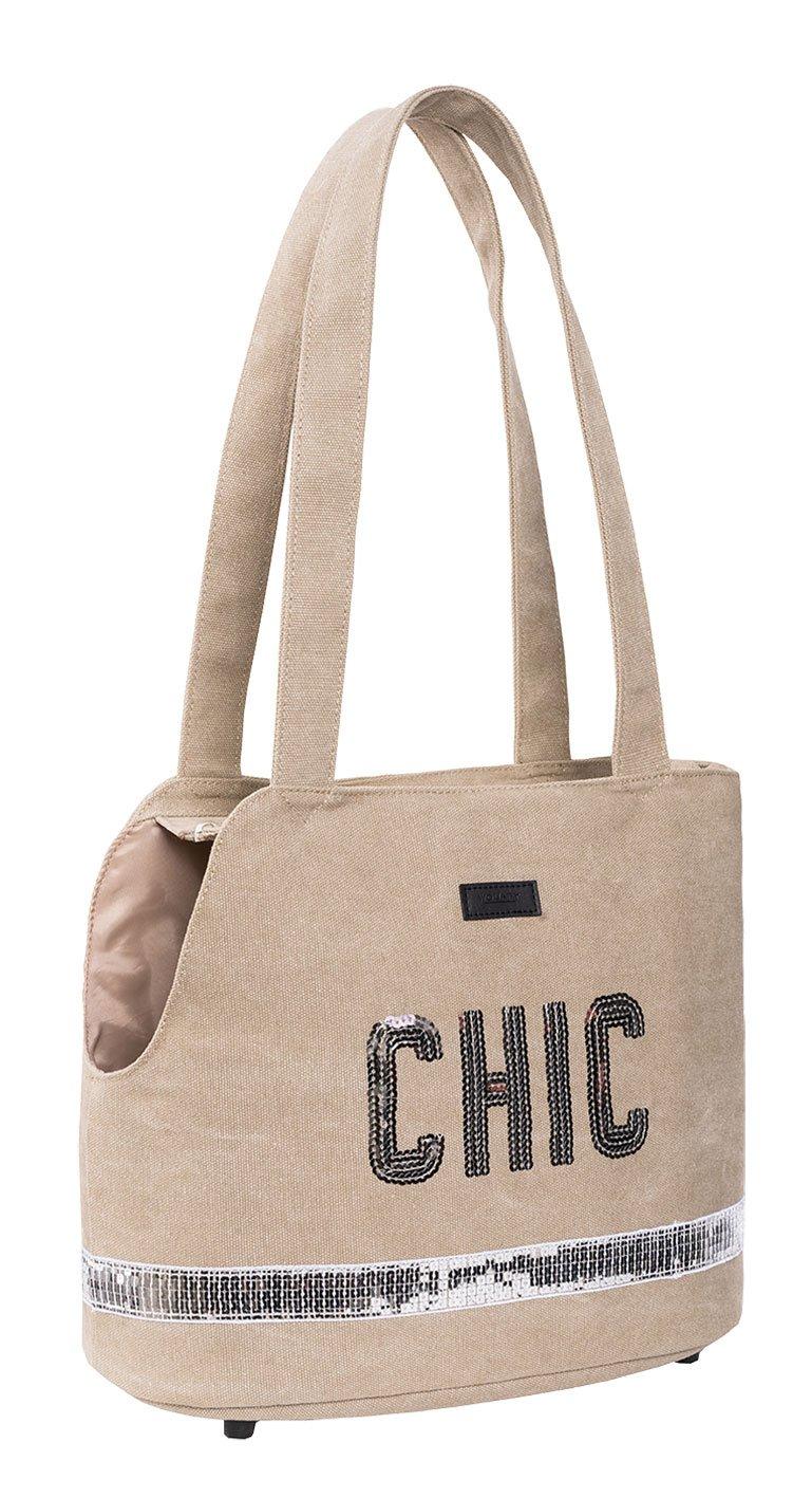 Wouapy Glitter Transport Bag for Dog, Beige
