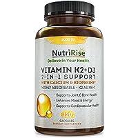 Vitamin K2 + D3 5000 IU Supplement with Calcium & BioPerine. Maximum Absorption. Supports Healthy Heart, Bones & Teeth…