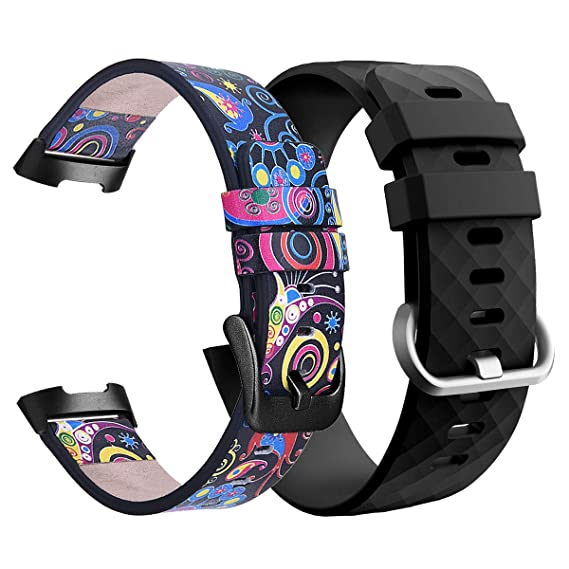 TOROTOP Band Compatible with Fitbit Charge 3 Bands/Charge 3 SE Band 2 Pack  Women Men,Leather Band + Silicone Replacement Bracelet Strap for Charge
