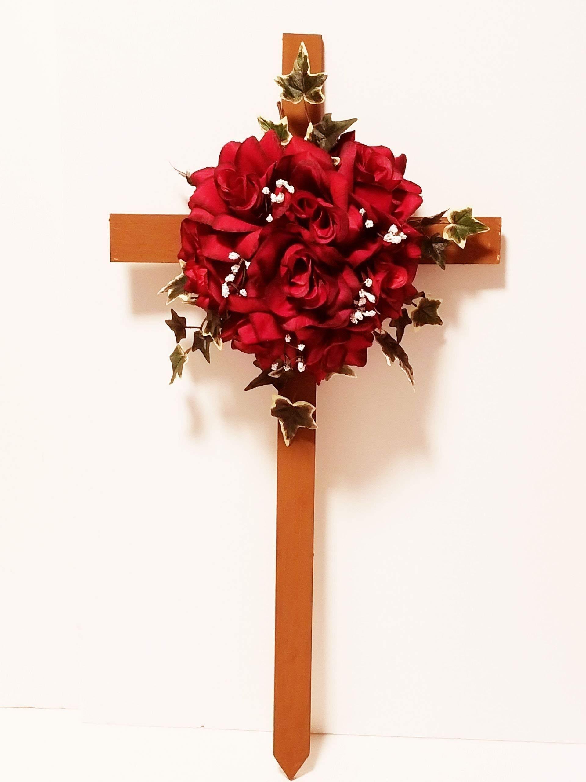 Cemetery-Silk-Flowers-Memorial-Cross-Red-Roses