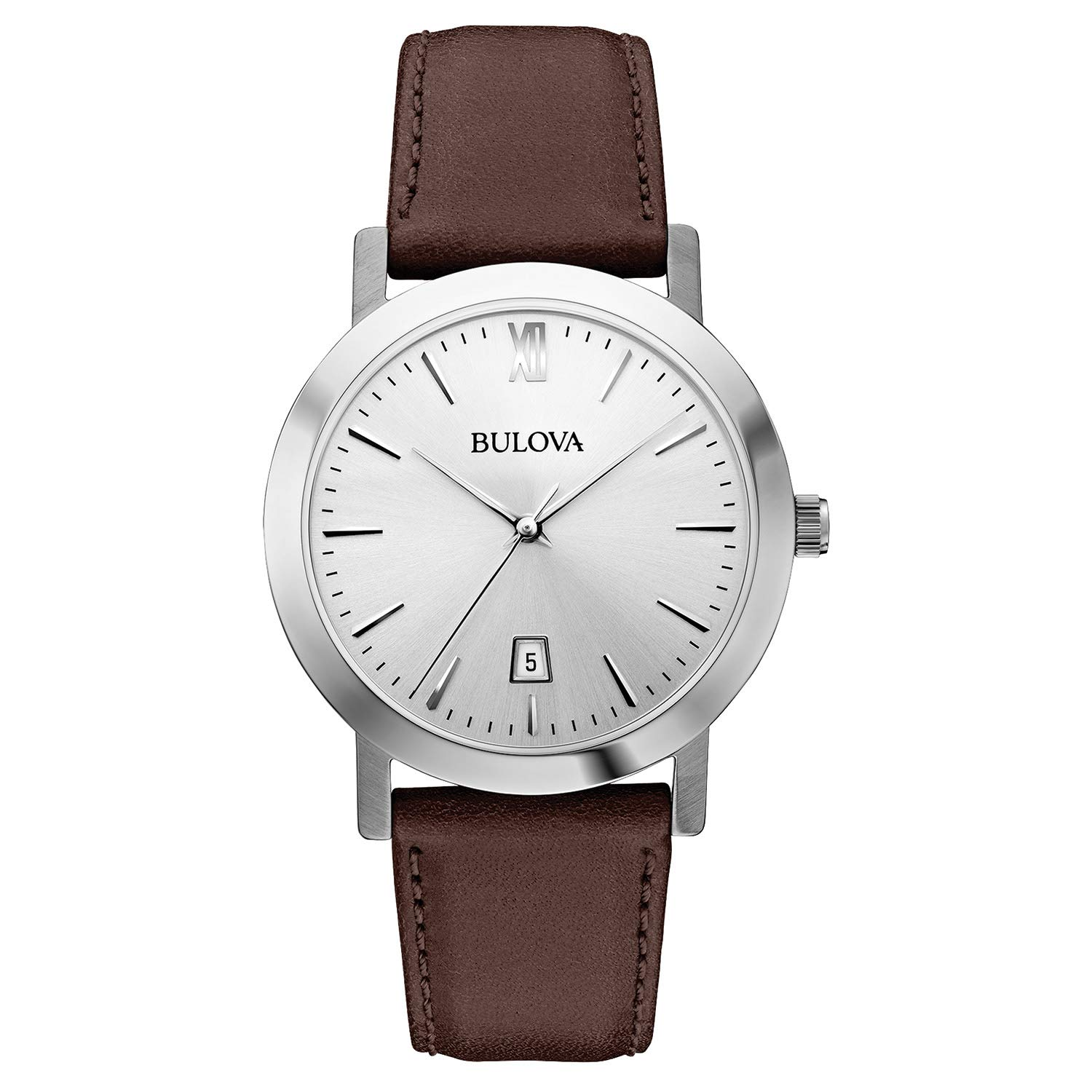 1c7abd275 Bulova Unisex 96B217 Stainless Steel Watch with Brown Leather Band |  Amazon.com