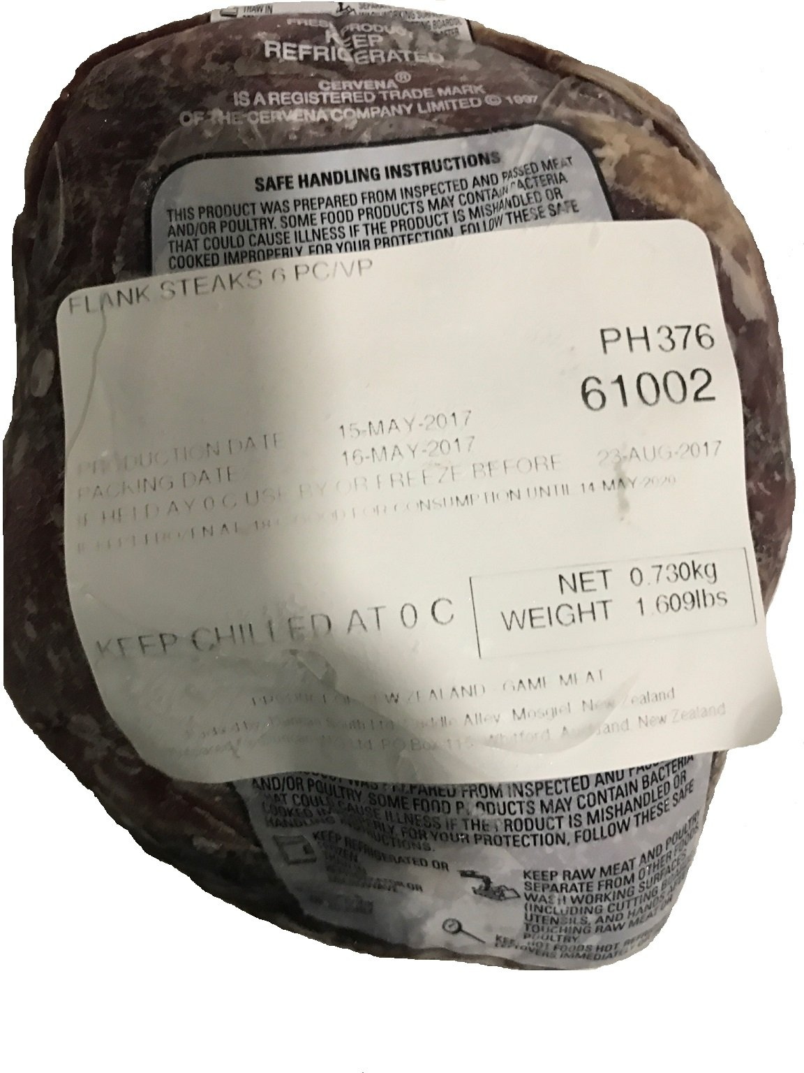 Venison Flank Steak 6 Qty/ 1- bag, Total 1.6 lbs plus