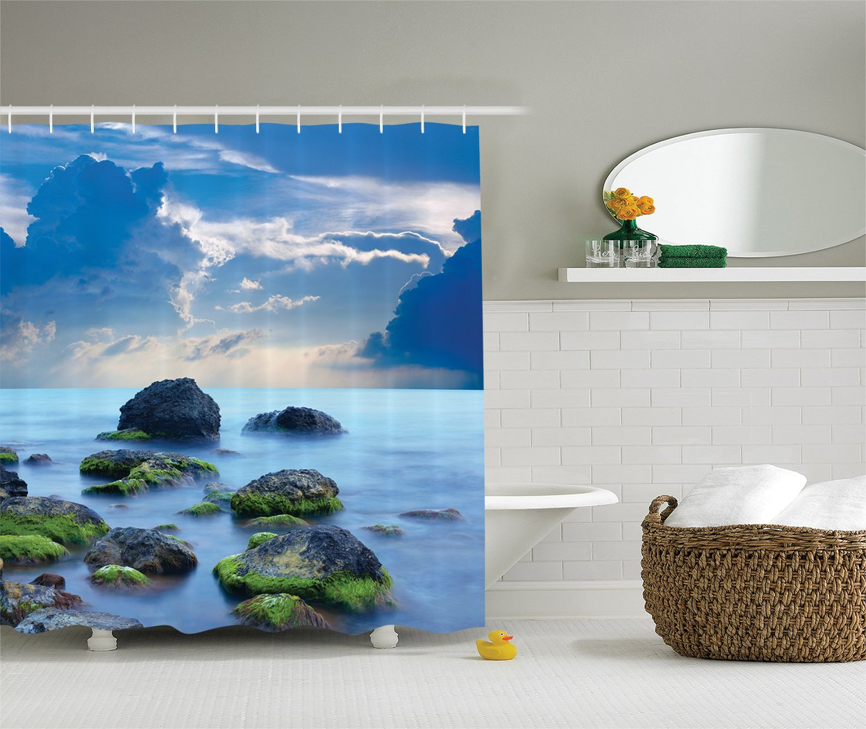 Ambesonne Spa Shower Curtain Decor, Sea Stones and Mystic Seaside Caribbean Photo Print, Polyester Fabric Bathroom Set with Hooks, 75 Inches Long, Slate Grey Sky Blue Cyan and White