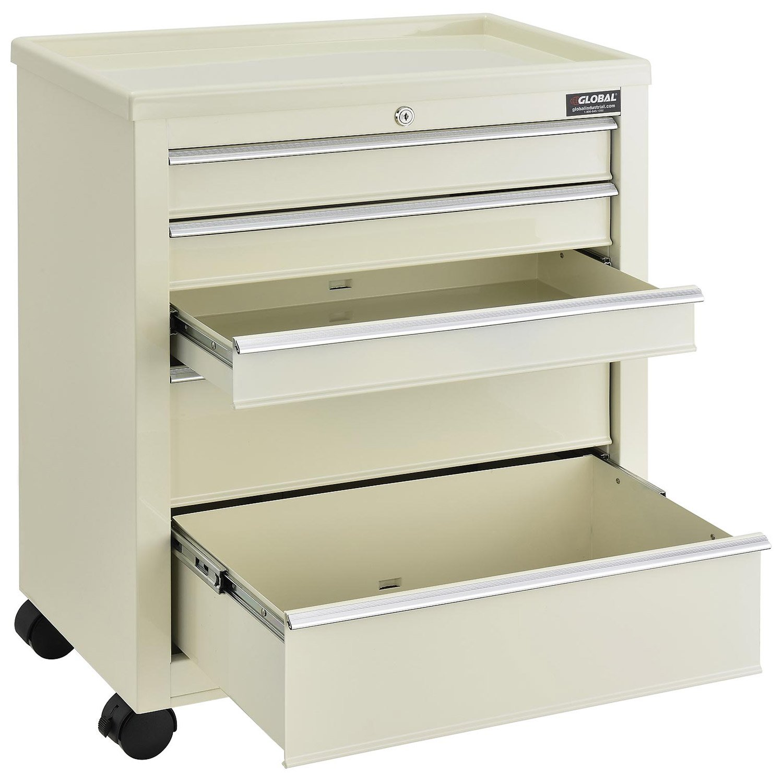 Medical Bedside Cart, 5-Drawer, Key Lock, Beige, 24-1/2''L x 13-1/4''W x 29''H