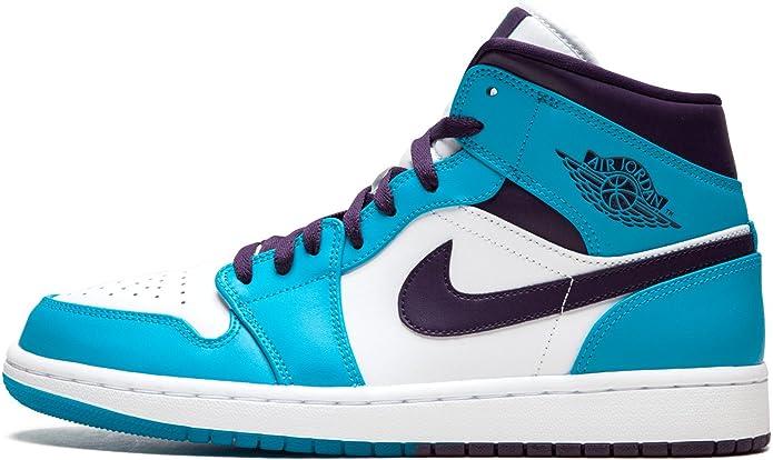Nike Men S Air Jordan 1 Mid Shoe Blue Lagoon Grand Purple Blue Size 11 5 Uk Amazon Co Uk Shoes Bags